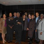 Ida B. Wells Commemorative Art Committeee members with Richard Hunt, artist; Mary Mitchell, Chicago Sun-Times columnist and emcee for the event; and Terri Hamilton Brown of The Community Builders.  (L-R) Julie Elena Brown, Michelle Duster, Sandra Young, Donald L. Duster, Richard Hunt, Terri Hamilton Brown, Joe Williams, Ann McKenzie, Mary Mitchell, Anthony Rogers and Shirley J. Newsome